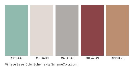 Vintage Base - Color scheme palette thumbnail - #91baae #e1dad3 #aeaba8 #8b4549 #bb8e70