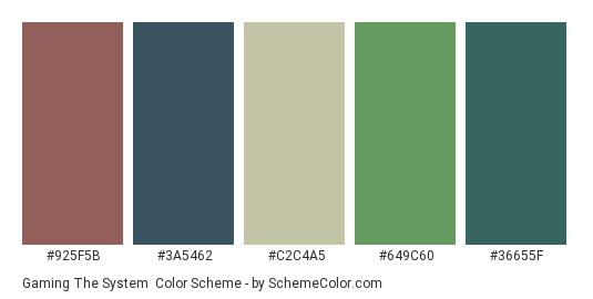 Gaming the System - Color scheme palette thumbnail - #925f5b #3a5462 #c2c4a5 #649c60 #36655f