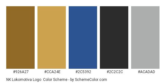 NK Lokomotiva Logo - Color scheme palette thumbnail - #926a27 #cca24e #2c5392 #2c2c2c #acadad