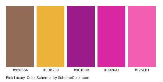 Pink Luxury - Color scheme palette thumbnail - #926b56 #edb239 #9c1b8b #d926a1 #f25eb1