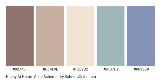 Happy at Home - Color scheme palette thumbnail - #92746F #C6AF9E #F2E2D2 #9FB7B9 #8693B9
