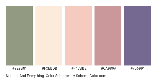 Nothing and Everything - Color scheme palette thumbnail - #929B81 #FCEBDB #F4CBBE #CA989A #756991
