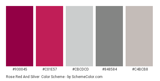 Rose Red and Silver - Color scheme palette thumbnail - #930045 #c01e57 #cbcdcd #848584 #c4bcb8