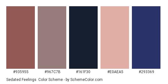 Sedated Feelings - Color scheme palette thumbnail - #935955 #967c7b #161f30 #e0aea5 #293369