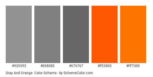Gray and Orange - Color scheme palette thumbnail - #939393 #808080 #676767 #fe5800 #ff7300