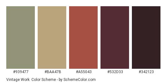 Vintage Work - Color scheme palette thumbnail - #939477 #baa47b #a55043 #532d33 #342123