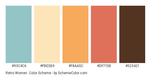 Retro Women - Color scheme palette thumbnail - #93C4C6 #fbe5b9 #F8AA5C #DF715B #523421