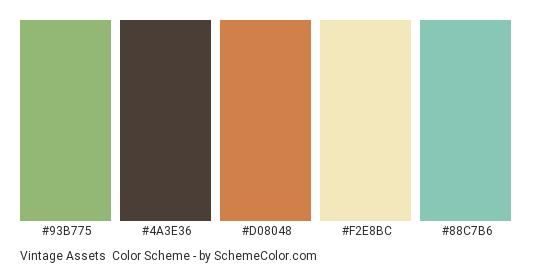 Vintage Assets - Color scheme palette thumbnail - #93b775 #4a3e36 #d08048 #f2e8bc #88c7b6