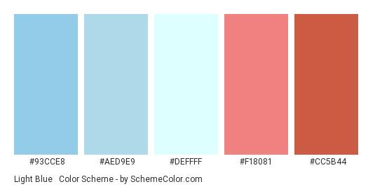 Light Blue & Coral - Color scheme palette thumbnail - #93cce8 #aed9e9 #deffff #f18081 #Cc5b44