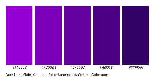 Dark-Light Violet Gradient - Color scheme palette thumbnail - #9400D3 #7C00B8 #64009D #4B0081 #330066