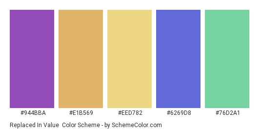 Replaced in Value - Color scheme palette thumbnail - #944bba #e1b569 #eed782 #6269d8 #76d2a1