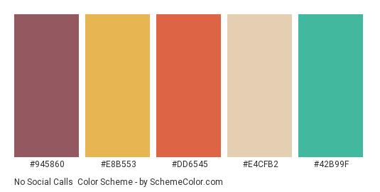 No Social Calls - Color scheme palette thumbnail - #945860 #e8b553 #dd6545 #e4cfb2 #42b99f