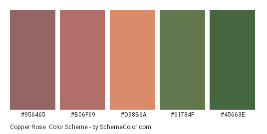 Copper Rose - Color scheme palette thumbnail - #956465 #b06f69 #d98b6a #61784f #45663e