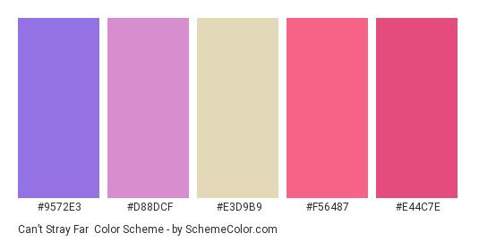 Can't Stray Far - Color scheme palette thumbnail - #9572E3 #d88dcf #E3D9B9 #F56487 #E44C7E