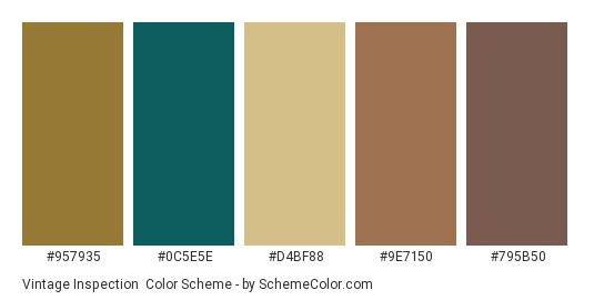 Vintage Inspection - Color scheme palette thumbnail - #957935 #0c5e5e #d4bf88 #9e7150 #795b50