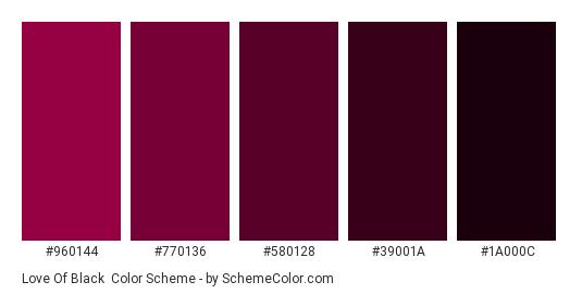Love of Black - Color scheme palette thumbnail - #960144 #770136 #580128 #39001A #1A000C