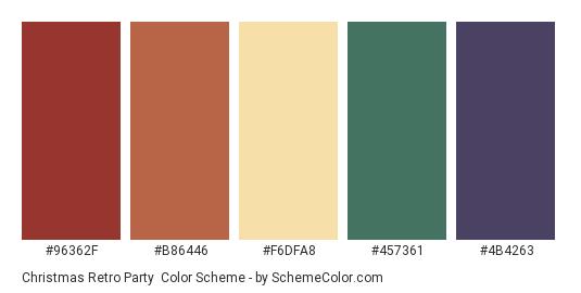 Christmas Retro Party - Color scheme palette thumbnail - #96362F #B86446 #F6DFA8 #457361 #4B4263