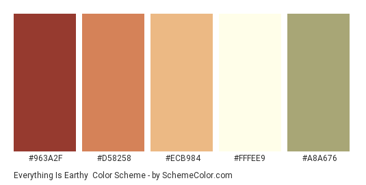 Everything Is Earthy Color Scheme Palette Thumbnail 963a2f D58258 Ecb984