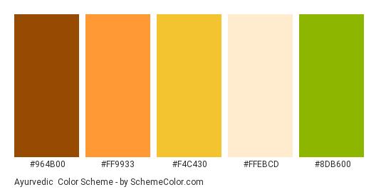 Ayurvedic - Color scheme palette thumbnail - #964B00 #FF9933 #F4C430 #FFEBCD #8DB600