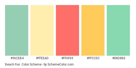 Beach Fun - Color scheme palette thumbnail - #96ceb4 #ffeead #ff6f69 #ffcc5c #88d8b0