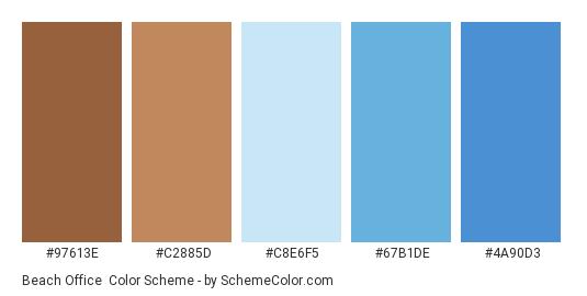Beach Office - Color scheme palette thumbnail - #97613E #C2885D #C8E6F5 #67B1DE #4A90D3