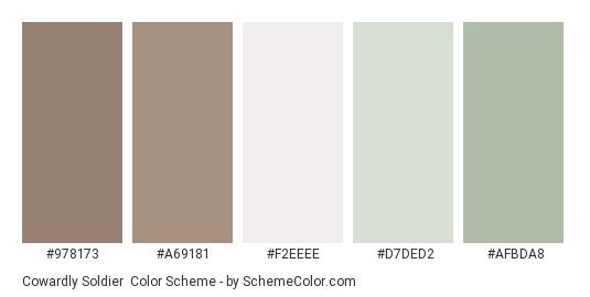 Cowardly Soldier - Color scheme palette thumbnail - #978173 #A69181 #F2EEEE #D7DED2 #AFBDA8