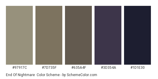 End of Nightmare - Color scheme palette thumbnail - #97917C #7D735F #635A4F #3D354A #1D1E30