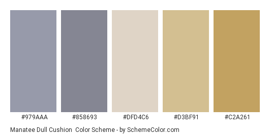 Manatee Dull Cushion - Color scheme palette thumbnail - #979aaa #858693 #dfd4c6 #d3bf91 #c2a261