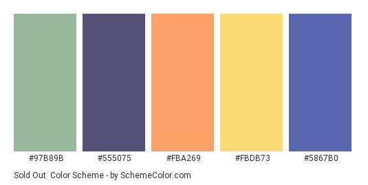 Sold Out - Color scheme palette thumbnail - #97B89B #555075 #FBA269 #FBDB73 #5867B0