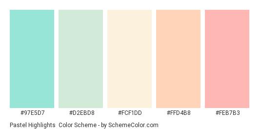 Pastel Highlights - Color scheme palette thumbnail - #97E5D7 #D2EBD8 #FCF1DD #FFD4B8 #FEB7B3