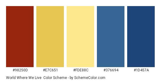 World Where We Live - Color scheme palette thumbnail - #98250d #e7c651 #fde88c #376694 #1d457a