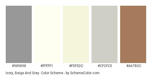 Ivory, Beige and Grey - Color scheme palette thumbnail - #989898 #fffff1 #f5f5dc #cfcfc5 #a67b5c