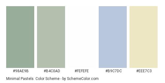 Minimal Pastels - Color scheme palette thumbnail - #98ae9b #b4c0ad #fefefe #b9c7dc #eee7c3