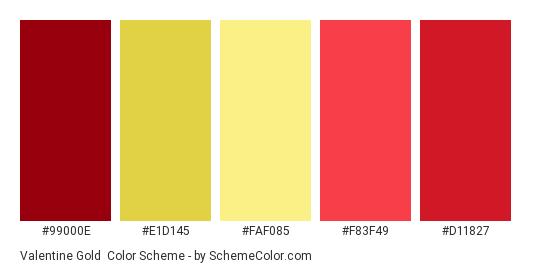 Valentine Gold - Color scheme palette thumbnail - #99000e #e1d145 #faf085 #f83f49 #d11827