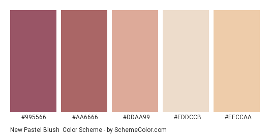 New Pastel Blush - Color scheme palette thumbnail - #995566 #AA6666 #DDAA99 #EDDCCB #EECCAA