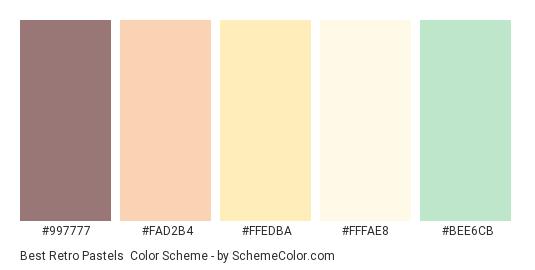 Best Retro Pastels - Color scheme palette thumbnail - #997777 #FAD2B4 #FFEDBA #FFFAE8 #BEE6CB