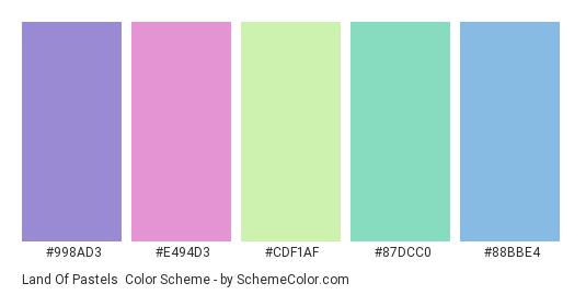 Land of Pastels - Color scheme palette thumbnail - #998ad3 #e494d3 #cdf1af #87dcc0 #88bbe4