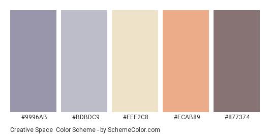 Creative Space - Color scheme palette thumbnail - #9996AB #BDBDC9 #EEE2C8 #ECAB89 #877374