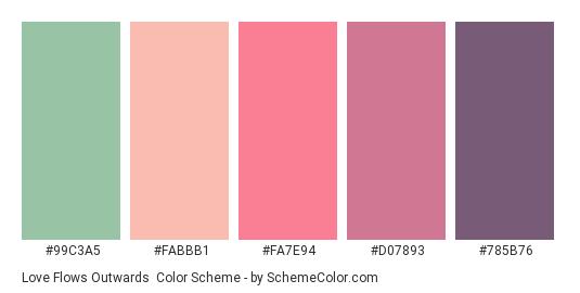 Love Flows Outwards - Color scheme palette thumbnail - #99c3a5 #fabbb1 #fa7e94 #d07893 #785b76