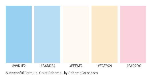 Successful Formula - Color scheme palette thumbnail - #99d1f2 #b6ddf4 #fefaf2 #fce9c9 #fad2dc