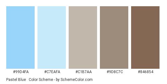 Pastel Blue & Brown - Color scheme palette thumbnail - #99d4fa #c7eafa #c1b7aa #9d8c7c #846854