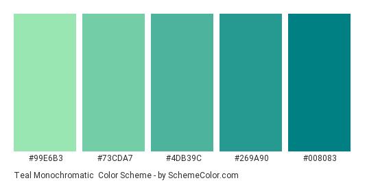 Teal Monochromatic - Color scheme palette thumbnail - #99e6b3 #73cda7 #4db39c #269a90 #008083