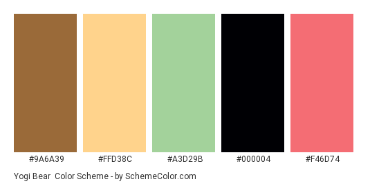 Yogi Bear - Color scheme palette thumbnail - #9A6A39 #FFD38C #A3D29B #000004 #F46D74