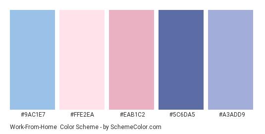 Work-From-Home - Color scheme palette thumbnail - #9AC1E7 #FFE2EA #EAB1C2 #5C6DA5 #A3ADD9
