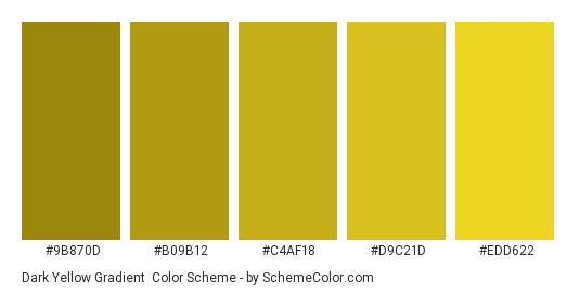 Dark Yellow Gradient - Color scheme palette thumbnail - #9B870D #B09B12 #C4AF18 #D9C21D #EDD622