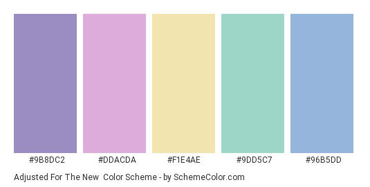 Adjusted for the New - Color scheme palette thumbnail - #9B8DC2 #DDACDA #F1E4AE #9dd5c7 #96B5DD