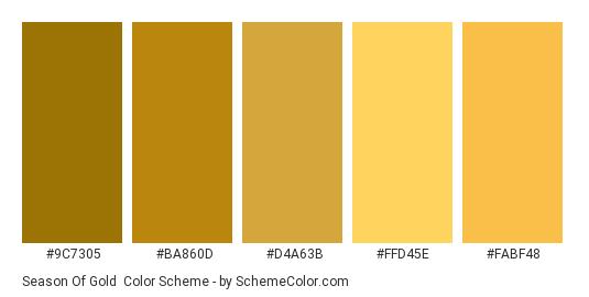 Season of Gold - Color scheme palette thumbnail - #9C7305 #BA860D #D4A63B #FFD45E #FABF48