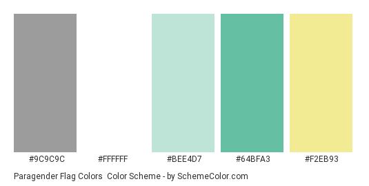 Paragender Flag Colors - Color scheme palette thumbnail - #9C9C9C #FFFFFF #bee4d7 #64bfa3 #f2eb93