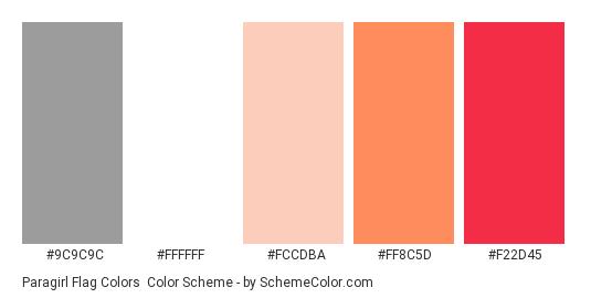 Paragirl Flag Colors - Color scheme palette thumbnail - #9C9C9C #FFFFFF #fccdba #ff8c5d #f22d45
