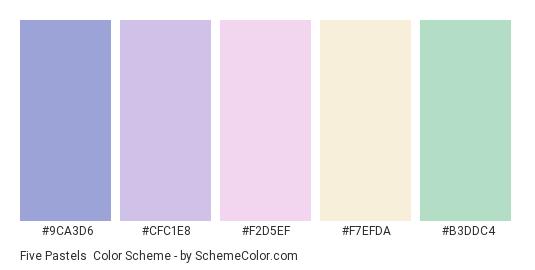 Five Pastels - Color scheme palette thumbnail - #9CA3D6 #CFC1E8 #F2D5EF #F7EFDA #B3DDC4
